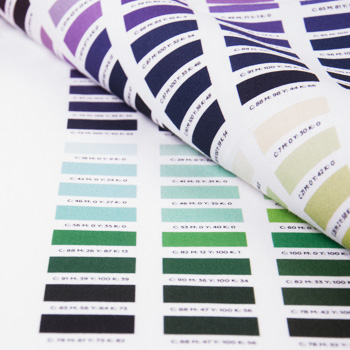 CMYK palette as a color guide on fabric