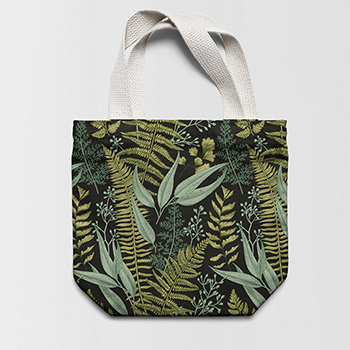 Printed gabardine shopper bag
