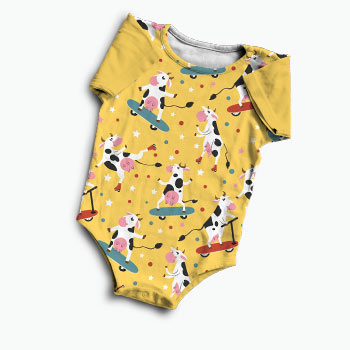 Baby onesie of printed single jersey