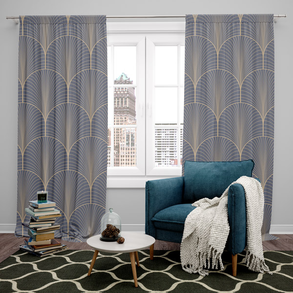 Short curtains made of cotton printed fabric