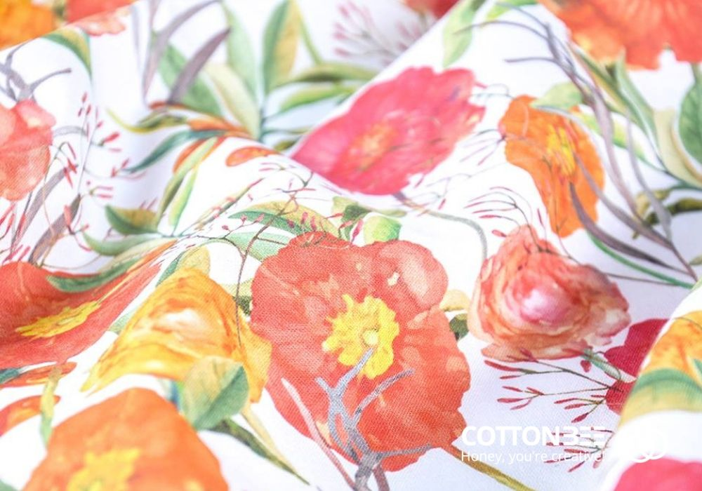 Fabric printed on demand with floral design