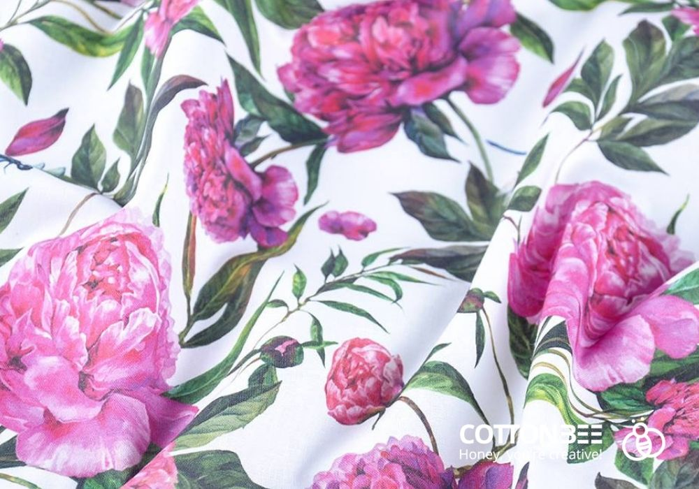 fabric with roses