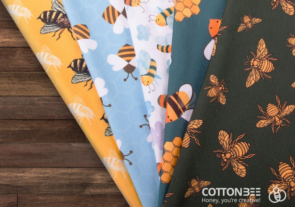 bees on fabric printed od demand
