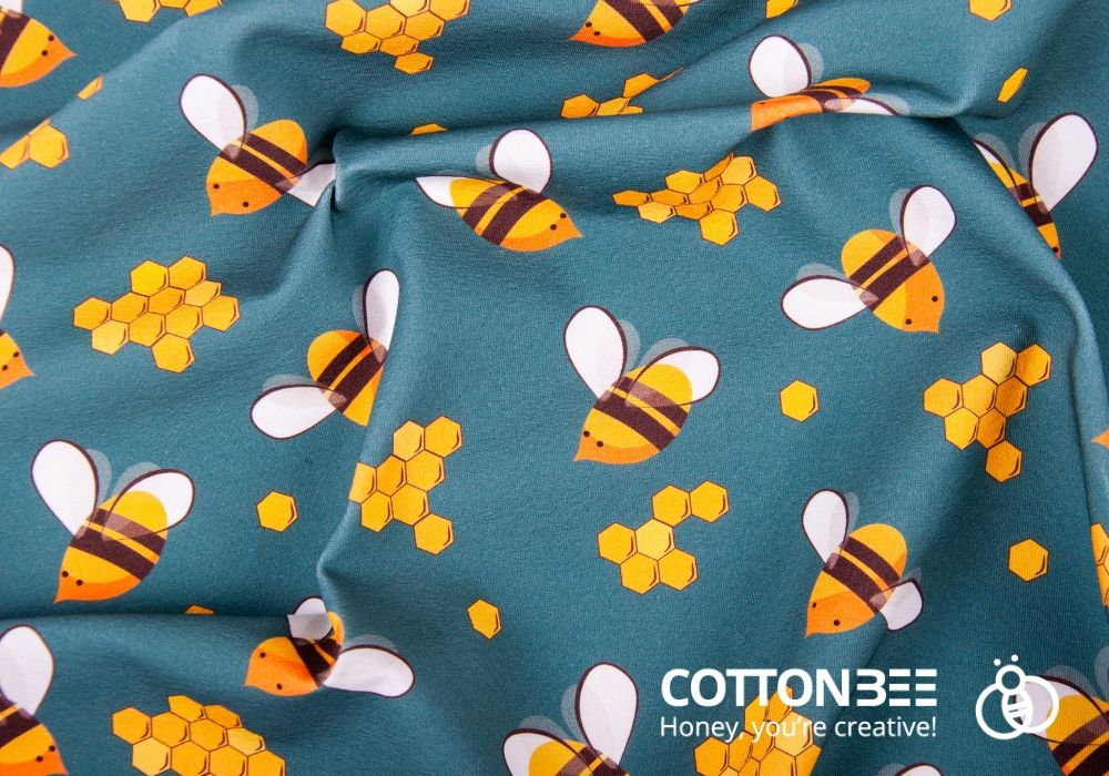Colorful bees printed on single jersey