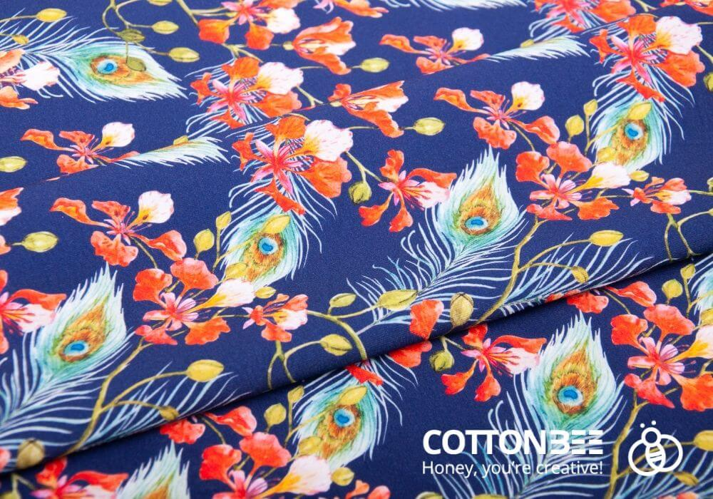 print on fabrics - patterns with peackock feather