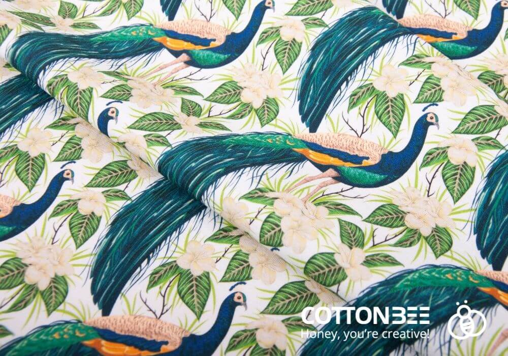 the pattern with peacocks - textile printing