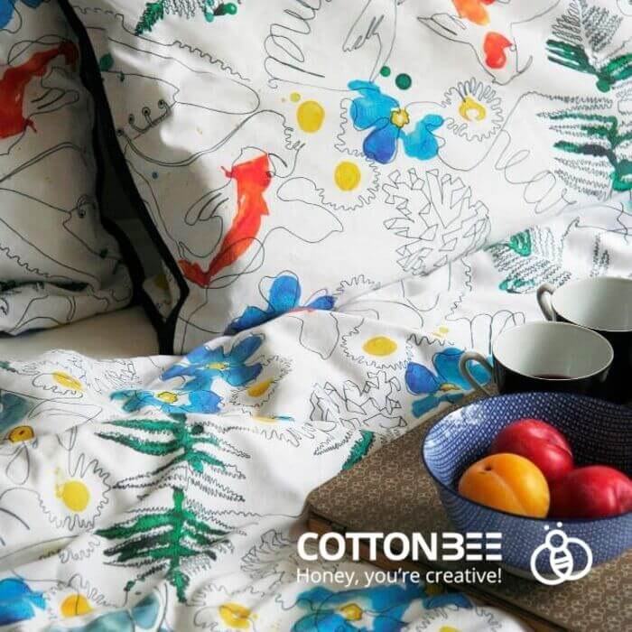 bedding from printed fabric