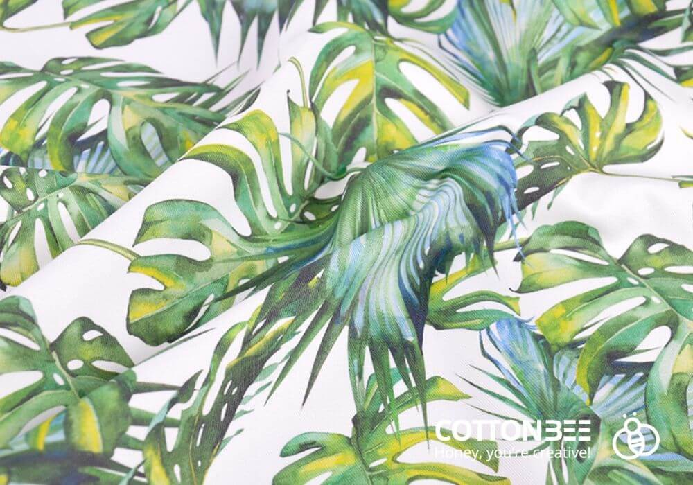the fabric with tropical leaves