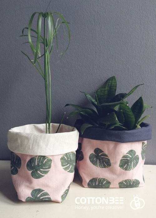 monstera leaf motif on flower pot covers