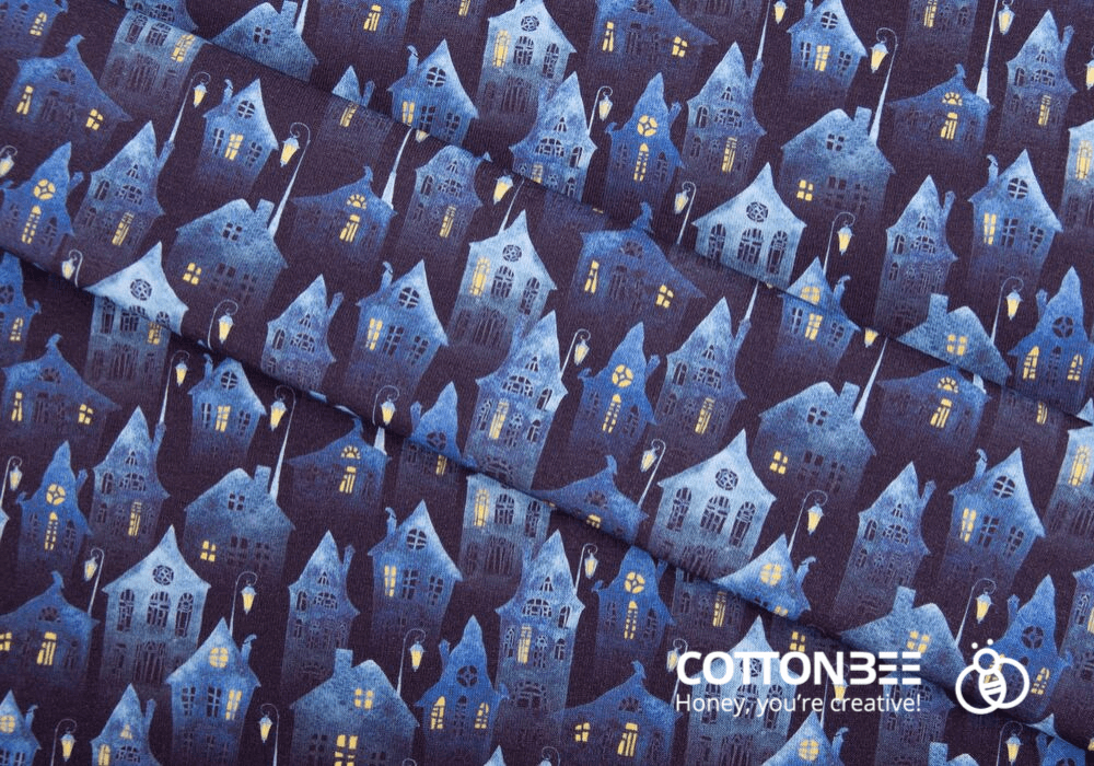 sewing fabric with haunted houses print