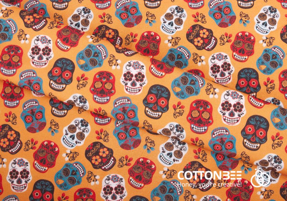 sugarskulls pattern on printed fabric