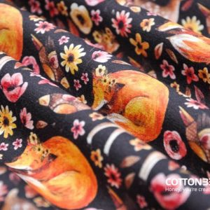 Fox sewing fabric – for forest flora and fauna lovers