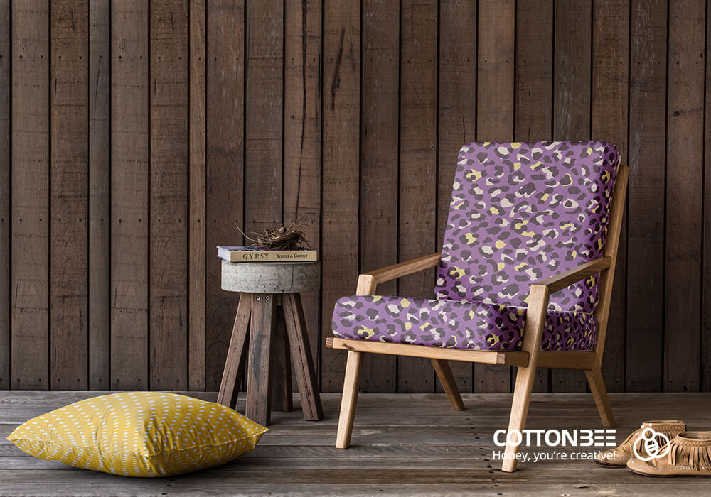 Purple animal print upholstery fabrics on a lounge chair