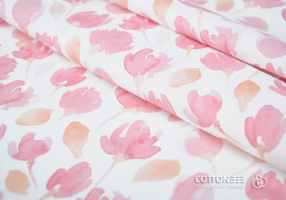 Fabric printed with pink flowers