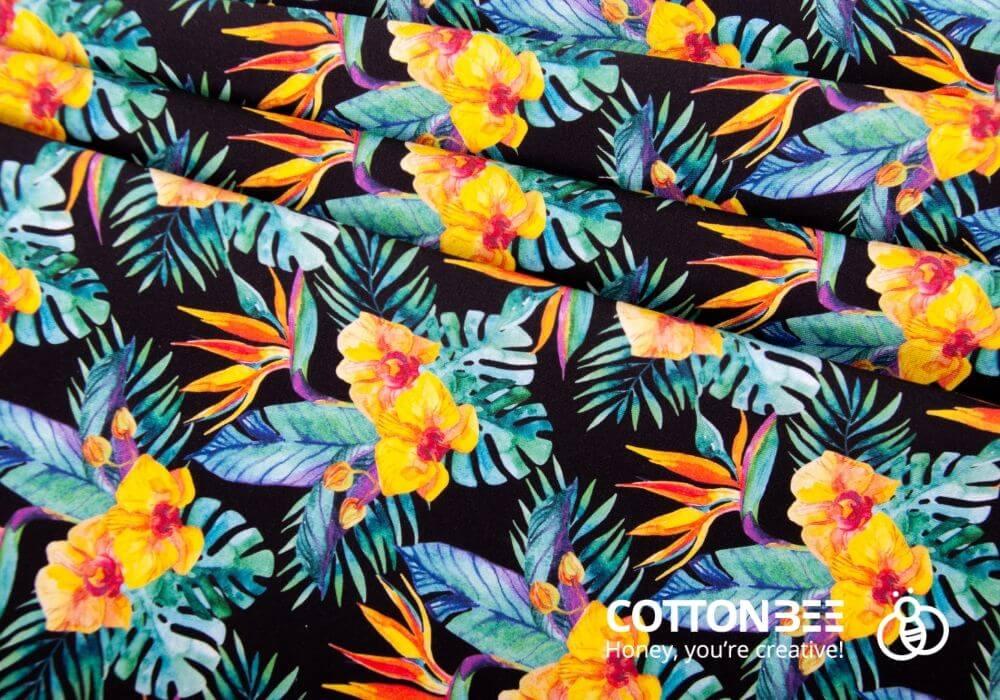 liscie tropikalne, kwiatowy wzor