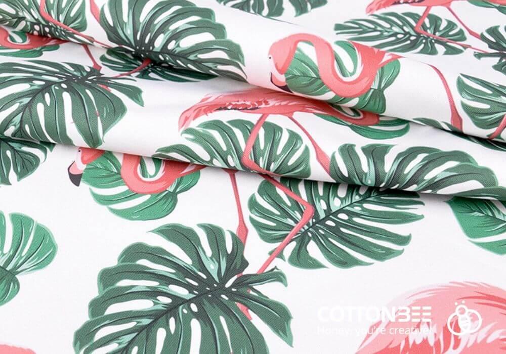 materiał do szycia w liscie monstery i flamingi