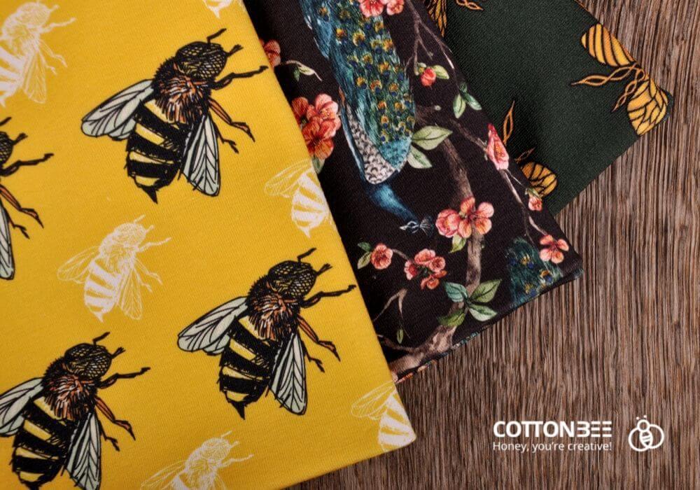 dzianina w kwiaty, pszczoły