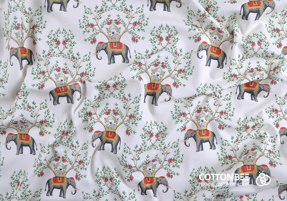 Materiał w słonie wydrukowany w CottonBee