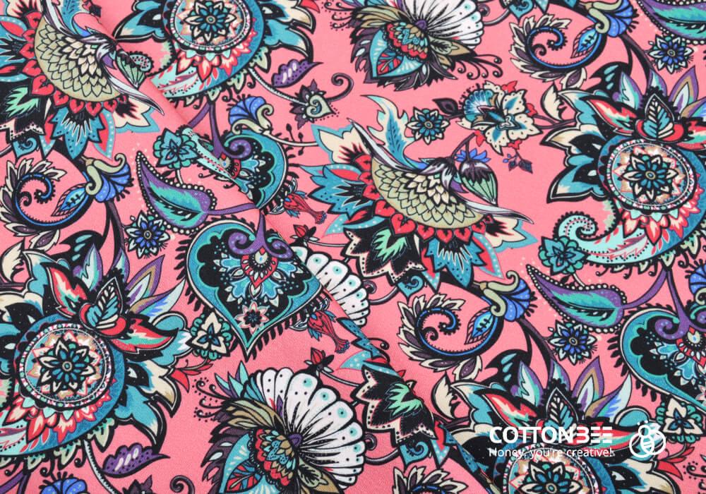 Materiał do szycia z wzorem orientalnym dostępnym do druku na ctnbee.com