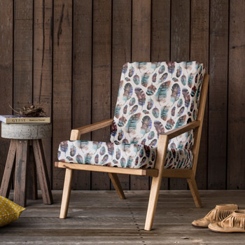 armchair printed with feather pattern