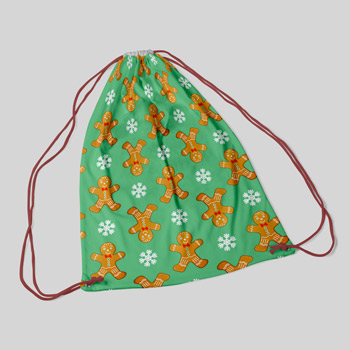 bag printed with gingerbreads pattern