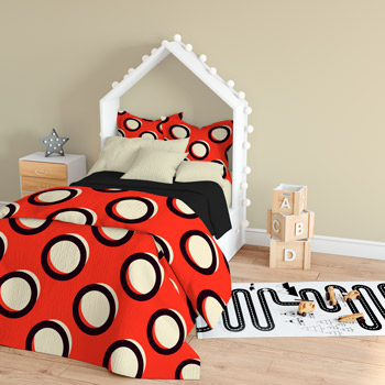 bedding made of polka dots fabric