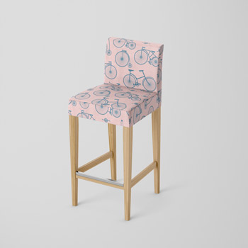 chair printes with bikes pattern