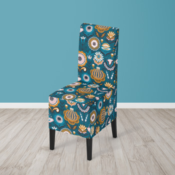 chair upholstered with folk fabric