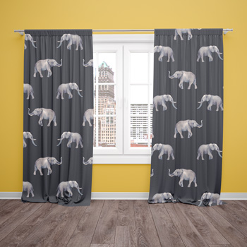 curtaind made with elephant fabric