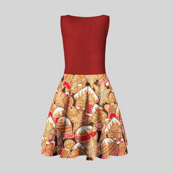 dress printed with gingerbreads pattern