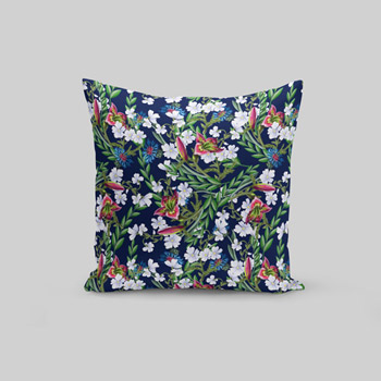 custom pillow sewn with printed cotton fabric