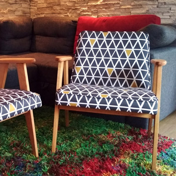 armchair with printed cotton upholstery