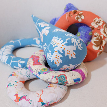 handmade toys made of printed cotton