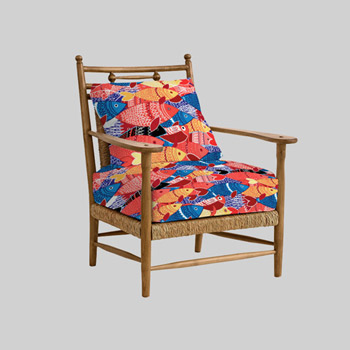 classy armchair upholstered with printed fabric