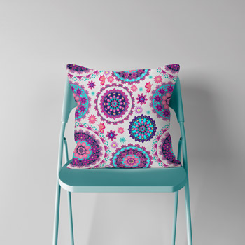 cotton cushion printed with mandala pattern