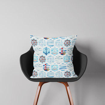 fabric cushion printed with nautical anchors