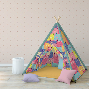 teepee printed with cats pattern