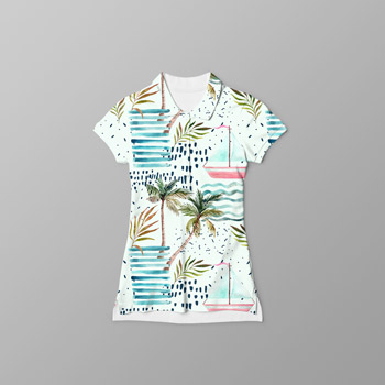 cotton tshirt with beach pattern printed