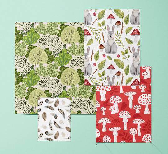 Woodland design fabric